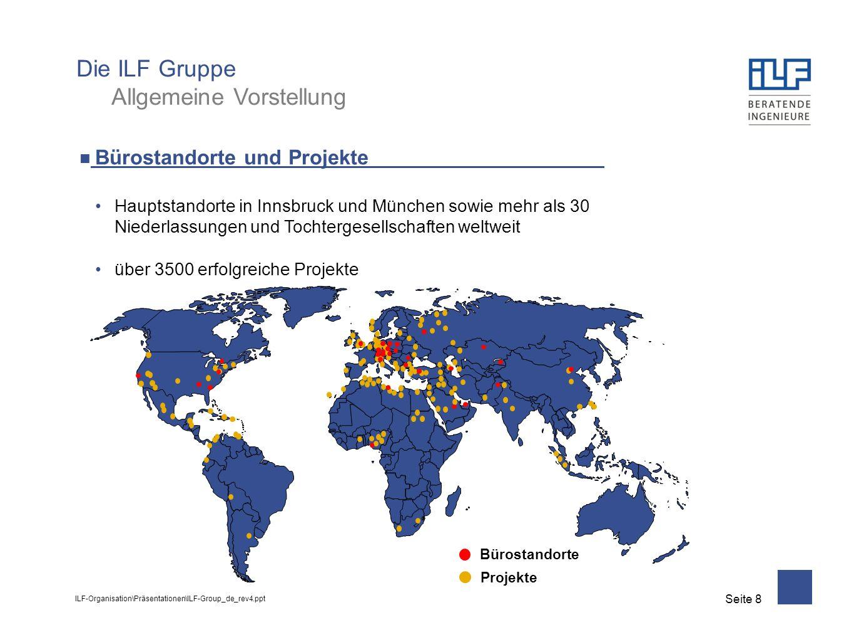 ILF-Organisation\Präsentationen\ILF-Group_de_rev4.ppt Seite 8 Bürostandorte und Projekte Hauptstandorte in Innsbruck und München sowie mehr als 30 Niederlassungen und Tochtergesellschaften weltweit über 3500 erfolgreiche Projekte Die ILF Gruppe Allgemeine Vorstellung Bürostandorte Projekte