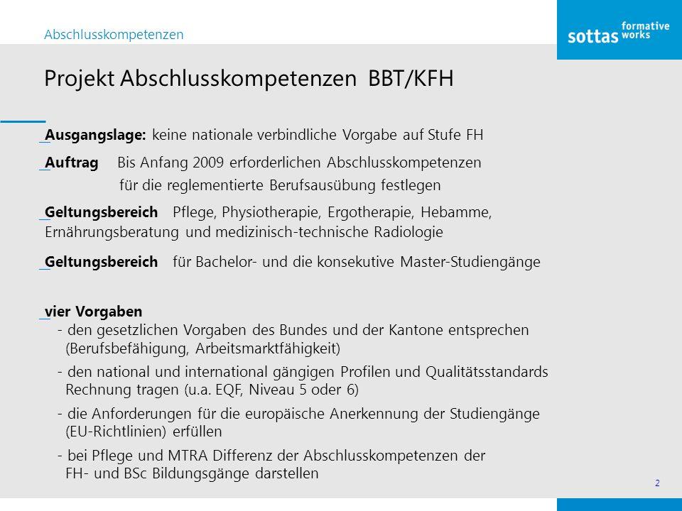 2 Abschlusskompetenzen Projekt Abschlusskompetenzen BBT/KFH ͟Ausgangslage: keine nationale verbindliche Vorgabe auf Stufe FH ͟Auftrag Bis Anfang 2009