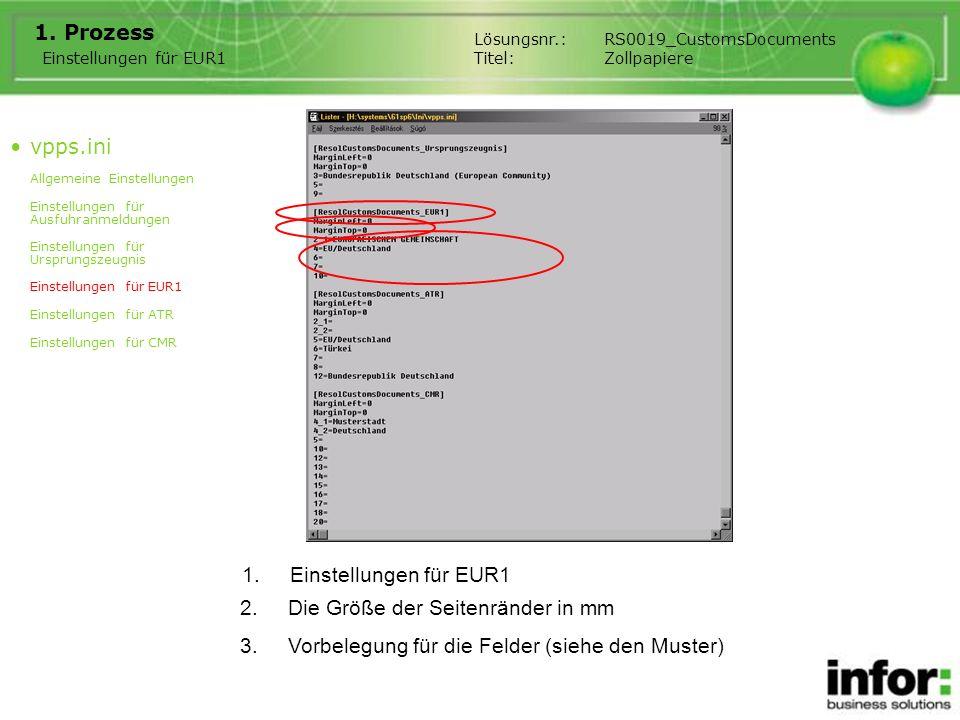 1.Einstellungen für EUR1 1. Prozess Einstellungen für EUR1 Lösungsnr.:RS0019_CustomsDocuments Titel:Zollpapiere 2.Die Größe der Seitenränder in mm 3.V