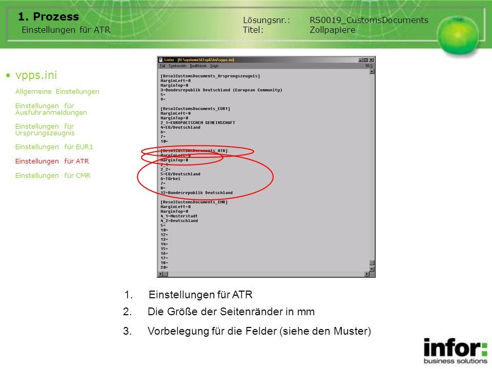 1.Einstellungen für ATR 1. Prozess Einstellungen für ATR Lösungsnr.:RS0019_CustomsDocuments Titel:Zollpapiere 2.Die Größe der Seitenränder in mm 3.Vor