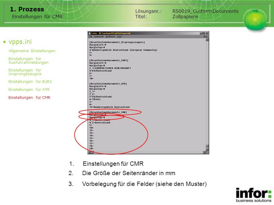 1.Einstellungen für CMR 1. Prozess Einstellungen für CMR Lösungsnr.:RS0019_CustomsDocuments Titel:Zollpapiere 2.Die Größe der Seitenränder in mm 3.Vor
