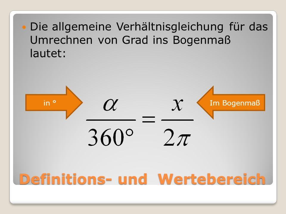 Berechne die wichtigsten Winkel im Bogenmaß: Winkel in ° 0° 45° 90° 135° 180° 225° 270° 315° 360° Winkel im Bogenmaß 0 ¼ π = 0,7854 ½ π = 1,5708 ¾ π = 2,3562 π = 3,1416 1 ¼ π = 3,9270 1 ½ π = 4,7124 1 ¾ π = 5,4978 2 π = 6,2832