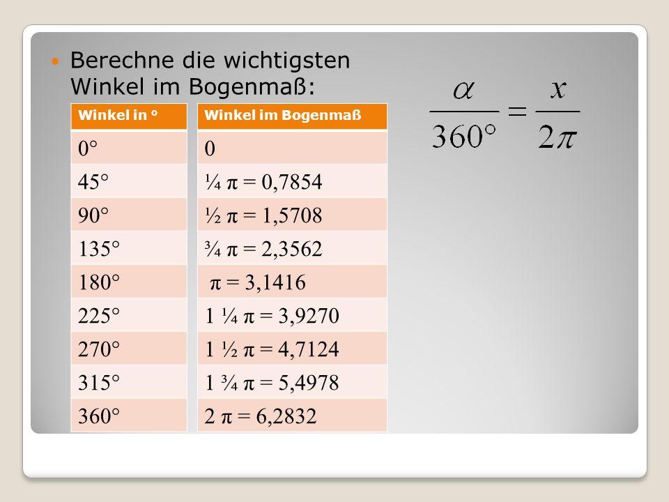 Berechne die wichtigsten Winkel im Bogenmaß: Winkel in ° 0° 45° 90° 135° 180° 225° 270° 315° 360° Winkel im Bogenmaß 0 ¼ π = 0,7854 ½ π = 1,5708 ¾ π =