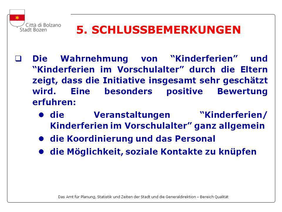 Das Amt für Planung, Statistik und Zeiten der Stadt und die Generaldirektion – Bereich Qualität Die Wahrnehmung von Kinderferien und Kinderferien im V