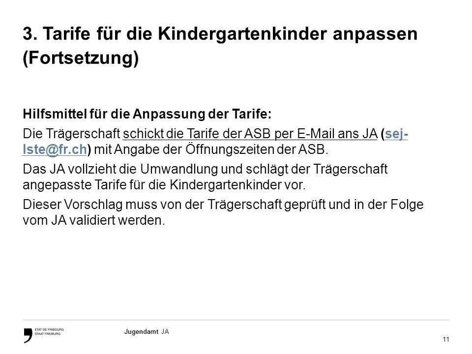 11 Jugendamt JA 3. Tarife für die Kindergartenkinder anpassen (Fortsetzung) Hilfsmittel für die Anpassung der Tarife: Die Trägerschaft schickt die Tar