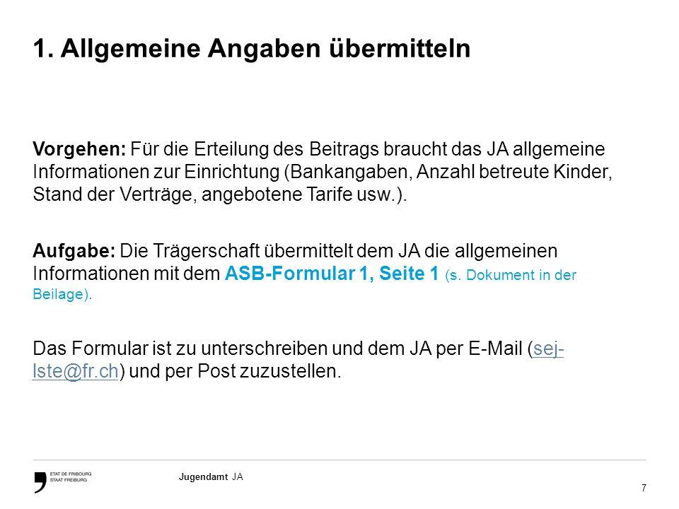 7 Jugendamt JA 1. Allgemeine Angaben übermitteln Vorgehen: Für die Erteilung des Beitrags braucht das JA allgemeine Informationen zur Einrichtung (Ban