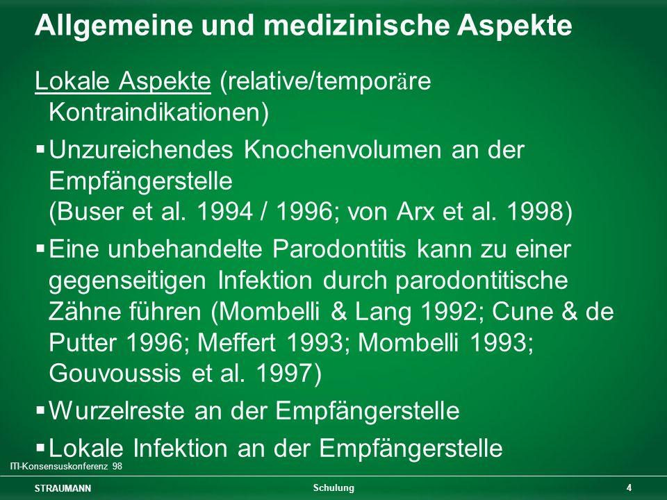 STRAUMANN 4 Schulung Allgemeine und medizinische Aspekte Lokale Aspekte (relative/tempor ä re Kontraindikationen) Unzureichendes Knochenvolumen an der