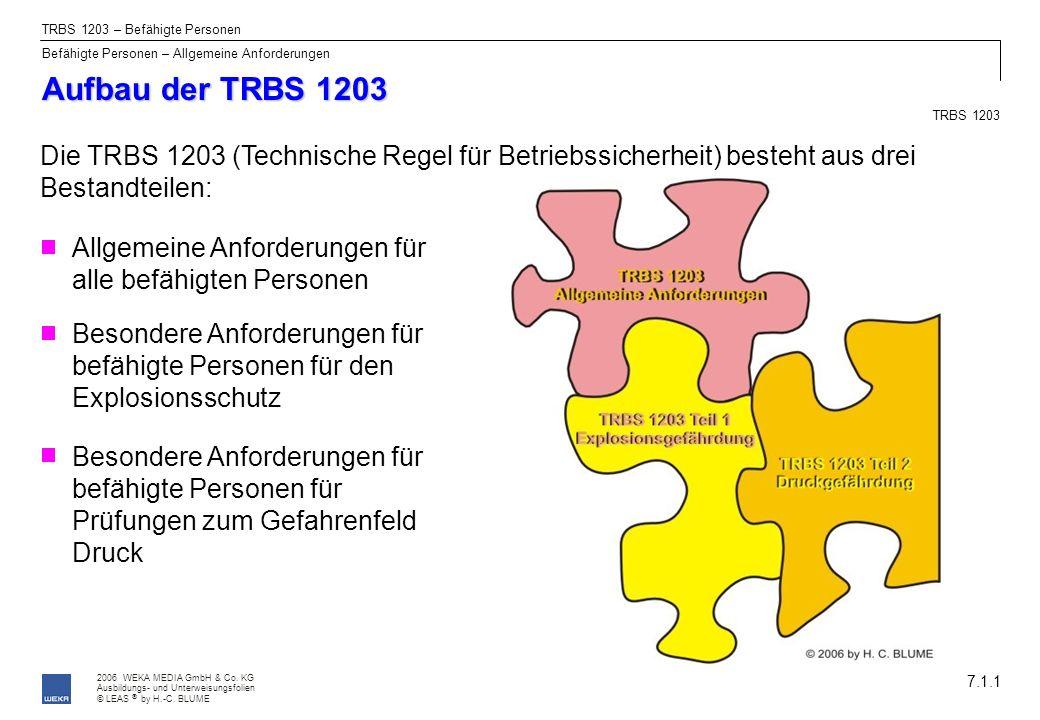 2006 WEKA MEDIA GmbH & Co. KG Ausbildungs- und Unterweisungsfolien © LEAS by H.-C. BLUME ® Aufbau der TRBS 1203 7.1.1 Die TRBS 1203 (Technische Regel