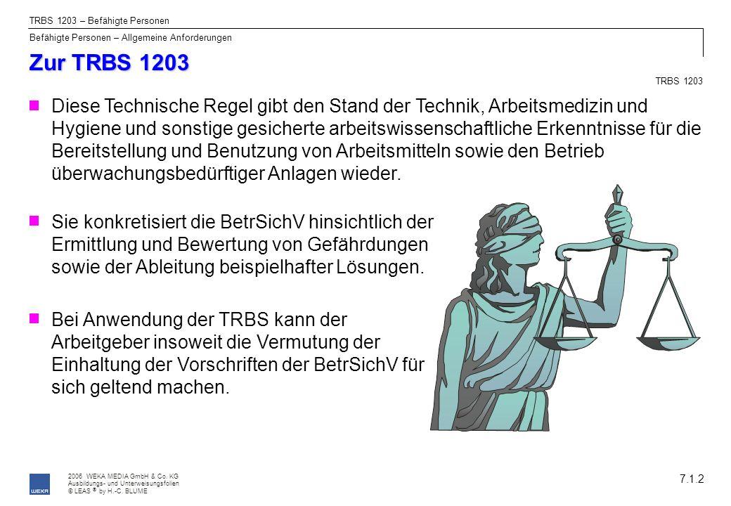 2006 WEKA MEDIA GmbH & Co. KG Ausbildungs- und Unterweisungsfolien © LEAS by H.-C. BLUME ® Zur TRBS 1203 7.1.2 TRBS 1203 – Befähigte Personen Befähigt
