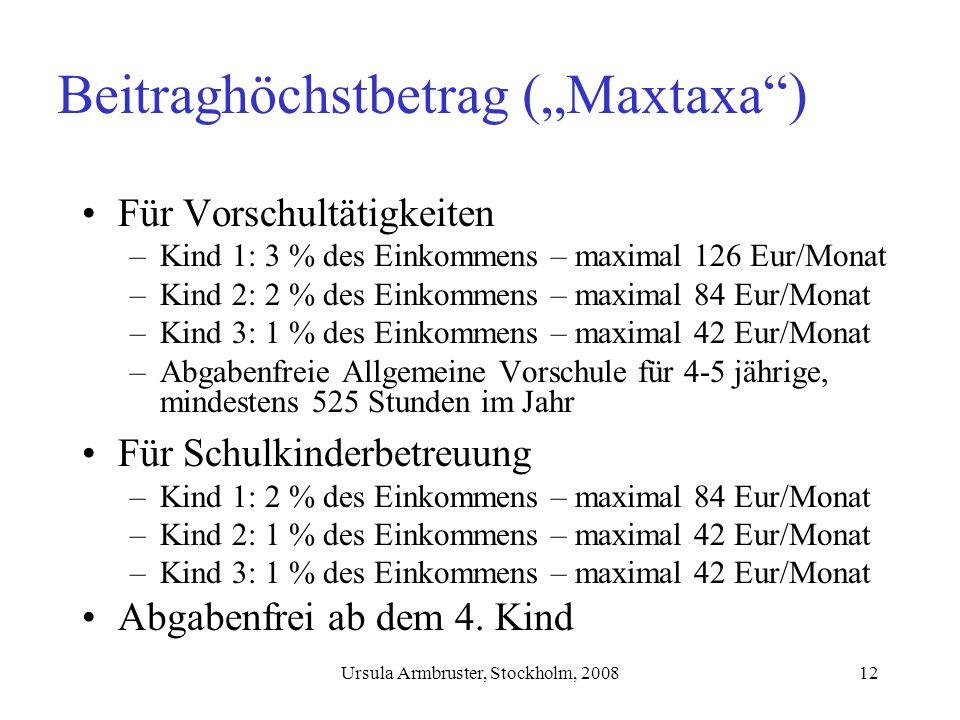 Ursula Armbruster, Stockholm, 200812 Beitraghöchstbetrag (Maxtaxa ) Für Vorschultätigkeiten –Kind 1: 3 % des Einkommens – maximal 126 Eur/Monat –Kind 2: 2 % des Einkommens – maximal 84 Eur/Monat –Kind 3: 1 % des Einkommens – maximal 42 Eur/Monat –Abgabenfreie Allgemeine Vorschule für 4-5 jährige, mindestens 525 Stunden im Jahr Für Schulkinderbetreuung –Kind 1: 2 % des Einkommens – maximal 84 Eur/Monat –Kind 2: 1 % des Einkommens – maximal 42 Eur/Monat –Kind 3: 1 % des Einkommens – maximal 42 Eur/Monat Abgabenfrei ab dem 4.