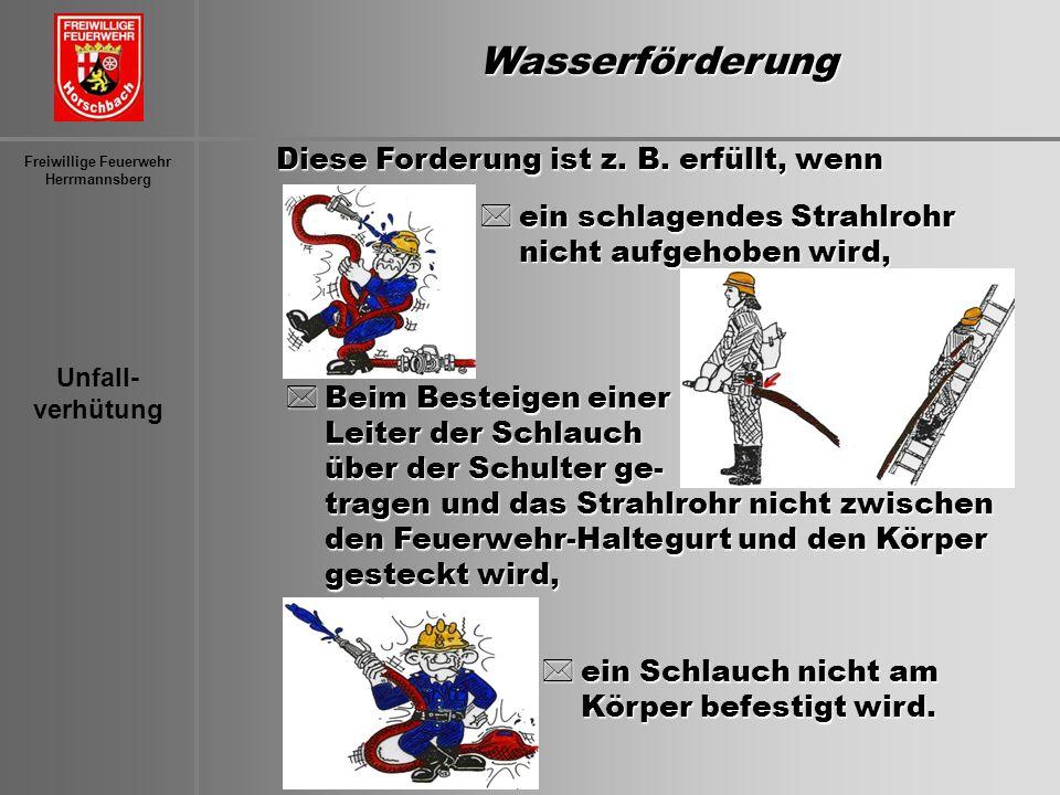 Unfall- verhütung Freiwillige Feuerwehr HerrmannsbergWasserförderung Diese Forderung ist z. B. erfüllt, wenn *ein schlagendes Strahlrohr nicht aufgeho