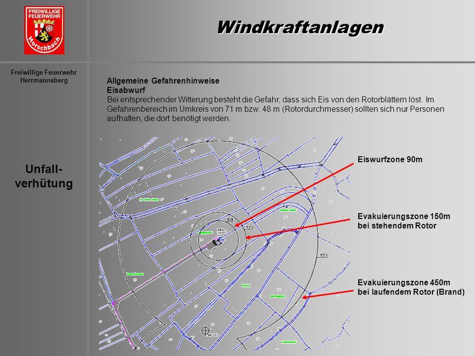 Unfall- verhütung Freiwillige Feuerwehr HerrmannsbergWindkraftanlagen Allgemeine Gefahrenhinweise Eisabwurf Bei entsprechender Witterung besteht die G