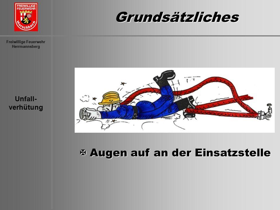 Unfall- verhütung Freiwillige Feuerwehr Herrmannsberg Grundsätzliches XAugen auf an der Einsatzstelle