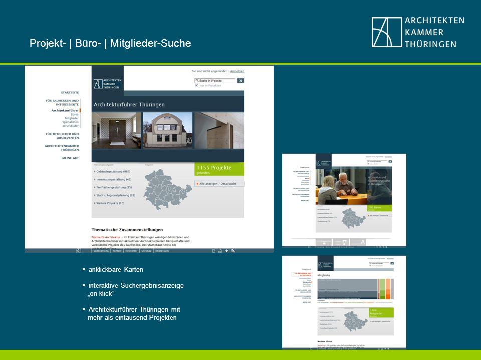 anklickbare Karten interaktive Suchergebnisanzeige on klick Architekturführer Thüringen mit mehr als eintausend Projekten Projekt- | Büro- | Mitglieder-Suche