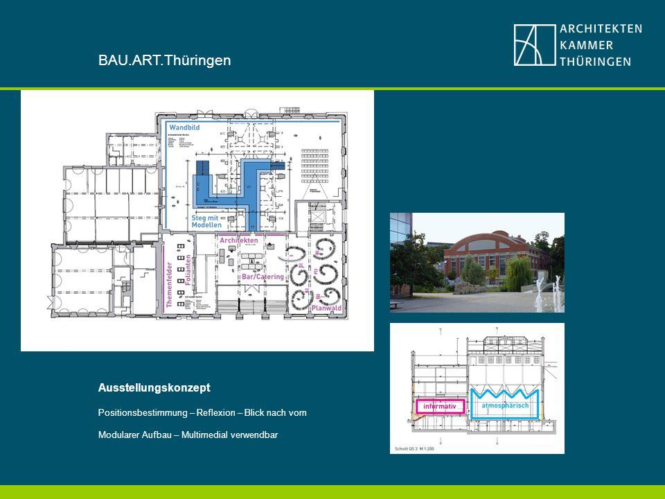 Ausstellungskonzept Positionsbestimmung – Reflexion – Blick nach vorn Modularer Aufbau – Multimedial verwendbar BAU.ART.Thüringen