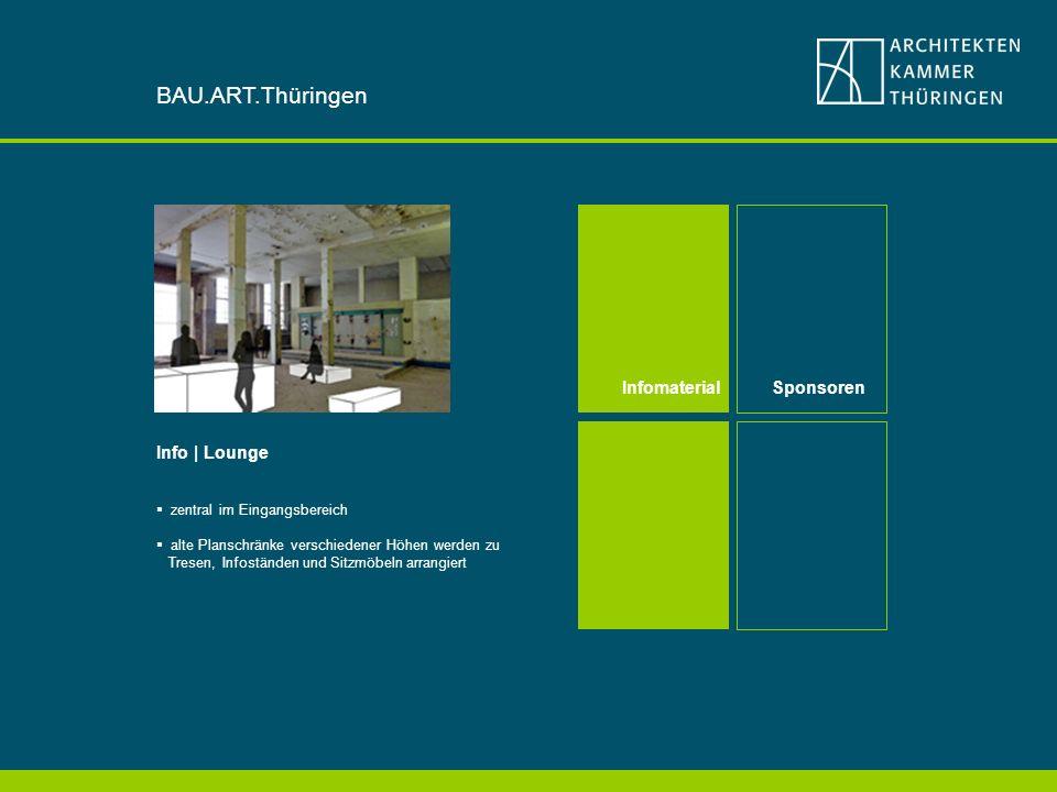 Info | Lounge zentral im Eingangsbereich alte Planschränke verschiedener Höhen werden zu Tresen, Infoständen und Sitzmöbeln arrangiert InfomaterialSponsoren