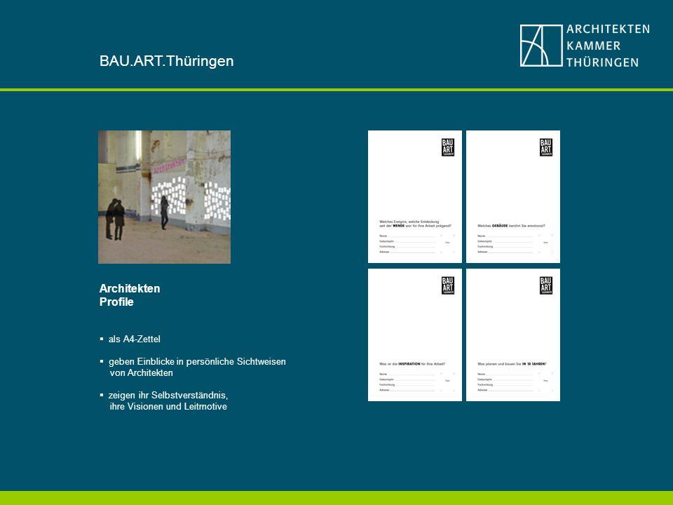 Architekten Profile als A4-Zettel geben Einblicke in persönliche Sichtweisen von Architekten zeigen ihr Selbstverständnis, ihre Visionen und Leitmotive BAU.ART.Thüringen