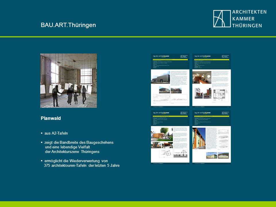 Planwald aus A2-Tafeln zeigt die Bandbreite des Baugeschehens und eine lebendige Vielfalt der Architekturszene Thüringens ermöglicht die Wiederverwertung von 375 architektouren-Tafeln der letzten 5 Jahre