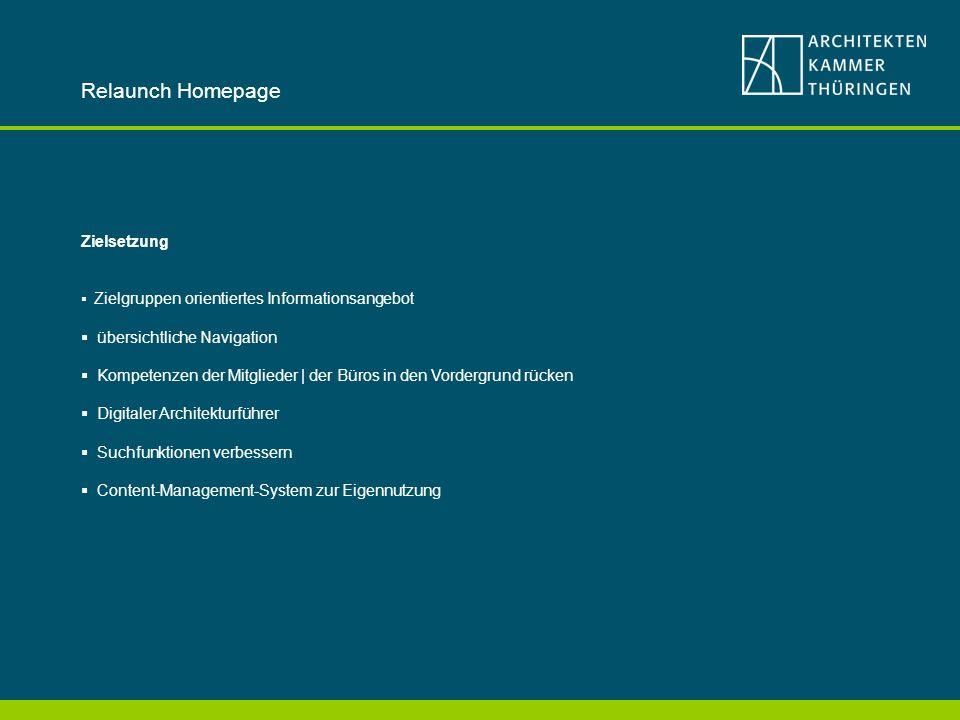 Relaunch Homepage Zielsetzung Zielgruppen orientiertes Informationsangebot übersichtliche Navigation Kompetenzen der Mitglieder | der Büros in den Vordergrund rücken Digitaler Architekturführer Suchfunktionen verbessern Content-Management-System zur Eigennutzung
