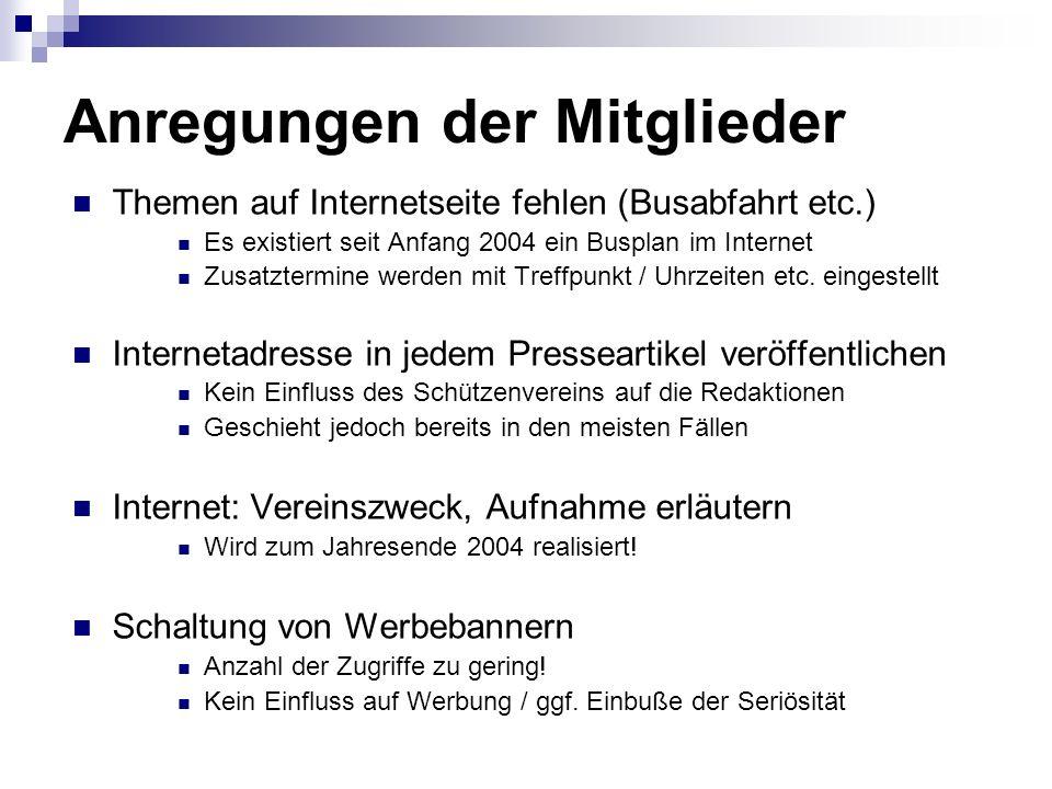 Anregungen der Mitglieder Themen auf Internetseite fehlen (Busabfahrt etc.) Es existiert seit Anfang 2004 ein Busplan im Internet Zusatztermine werden mit Treffpunkt / Uhrzeiten etc.