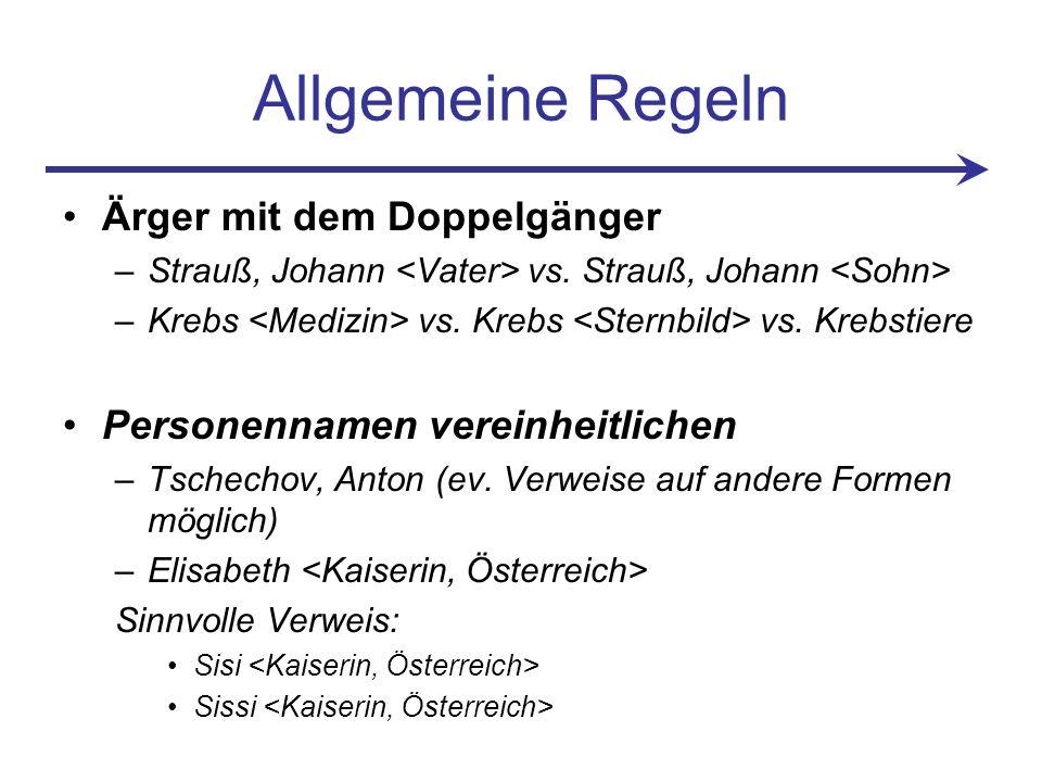 Allgemeine Regeln Ärger mit dem Doppelgänger –Strauß, Johann vs.