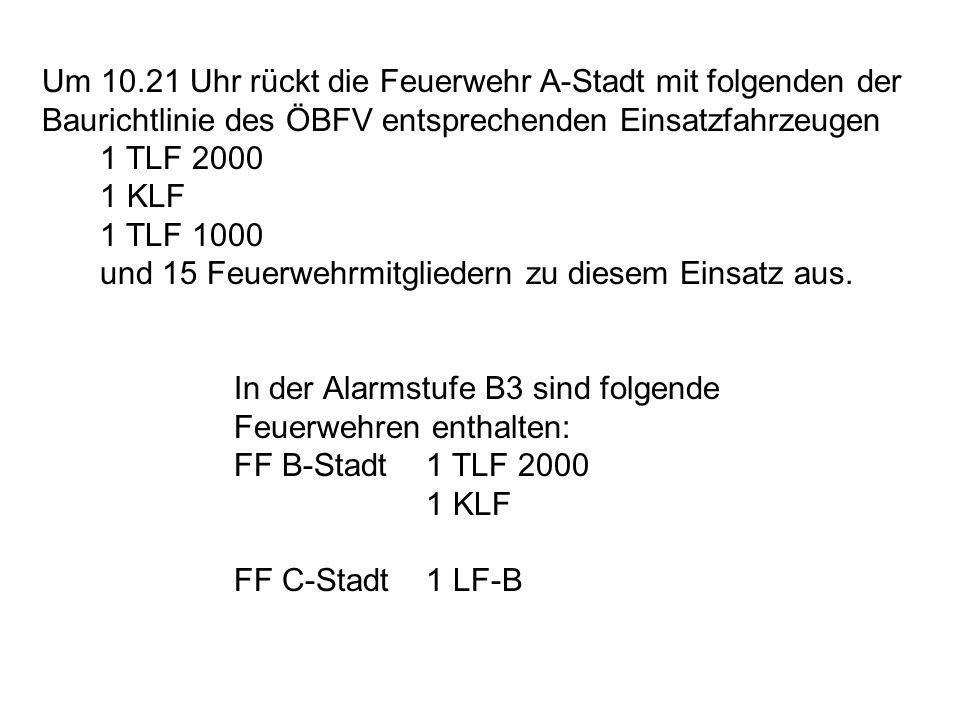 Um 10.21 Uhr rückt die Feuerwehr A-Stadt mit folgenden der Baurichtlinie des ÖBFV entsprechenden Einsatzfahrzeugen 1 TLF 2000 1 KLF 1 TLF 1000 und 15