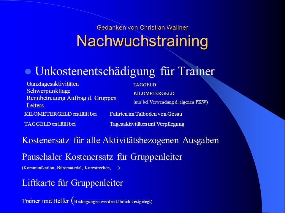 Gedanken von Christian Wallner Nachwuchstraining Unkostenentschädigung für Trainer Ganztagesaktivitäten Schwerpunkttage Rennbetreuung Auftrag d. Grupp