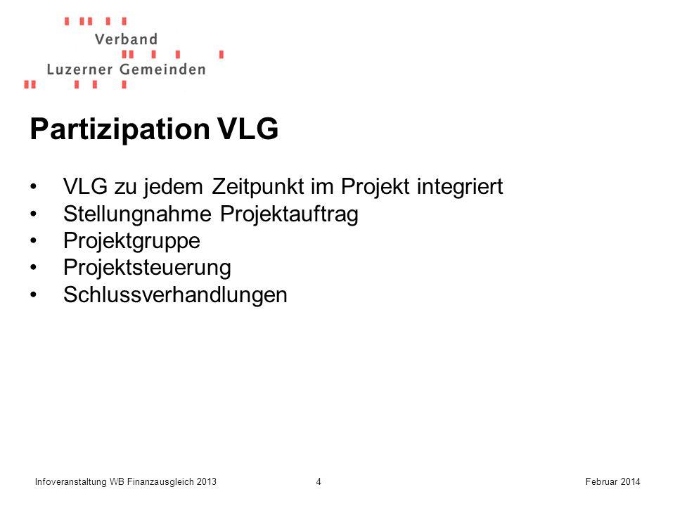 4Infoveranstaltung WB Finanzausgleich 2013Februar 2014 Partizipation VLG VLG zu jedem Zeitpunkt im Projekt integriert Stellungnahme Projektauftrag Projektgruppe Projektsteuerung Schlussverhandlungen