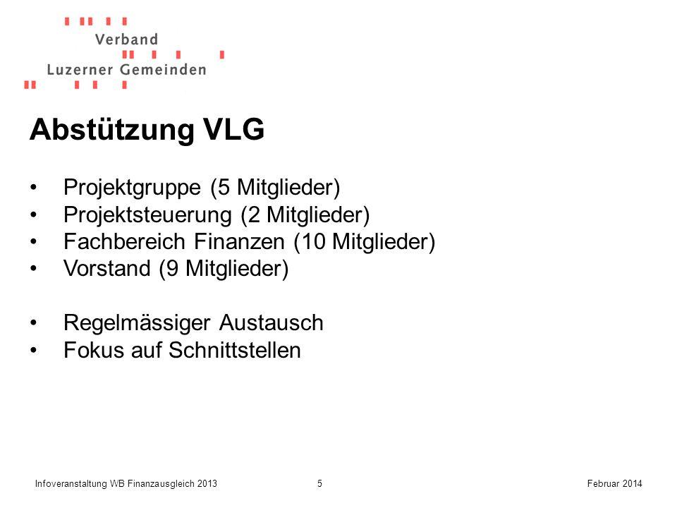 5Infoveranstaltung WB Finanzausgleich 2013Februar 2014 Abstützung VLG Projektgruppe (5 Mitglieder) Projektsteuerung (2 Mitglieder) Fachbereich Finanzen (10 Mitglieder) Vorstand (9 Mitglieder) Regelmässiger Austausch Fokus auf Schnittstellen