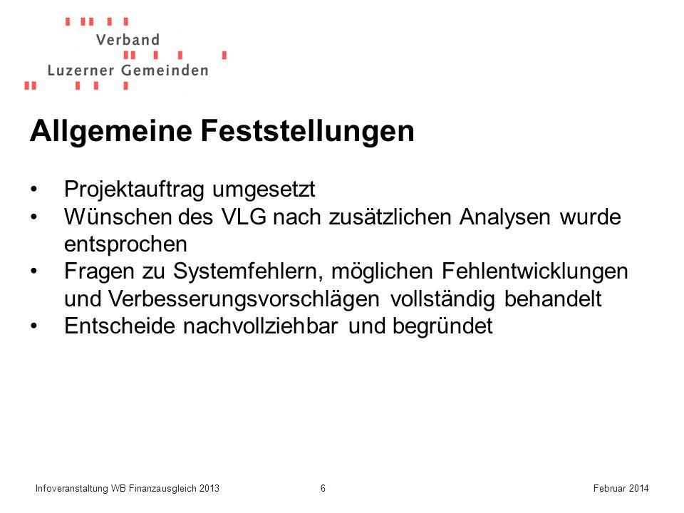 7Infoveranstaltung WB Finanzausgleich 2013Februar 2014 Position zu wichtigen Ergebnissen