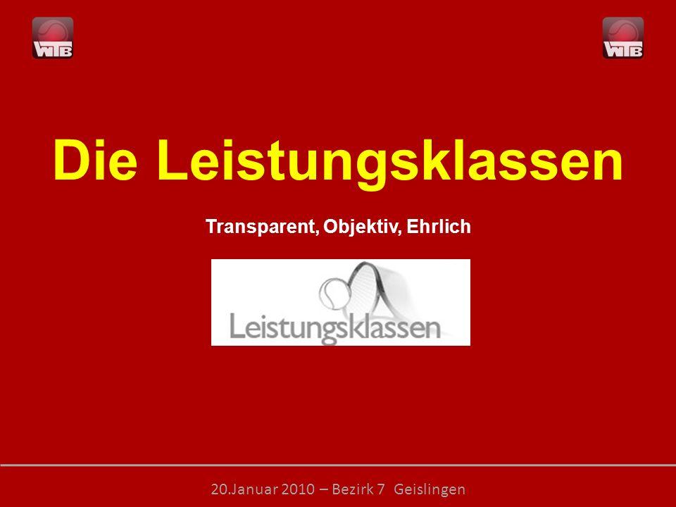 LEISTUNGSKLASSEN – transparent, objektiv, ehrlich 20.Januar 2010 – Bezirk 7 Geislingen Die Leistungsklassen Transparent, Objektiv, Ehrlich