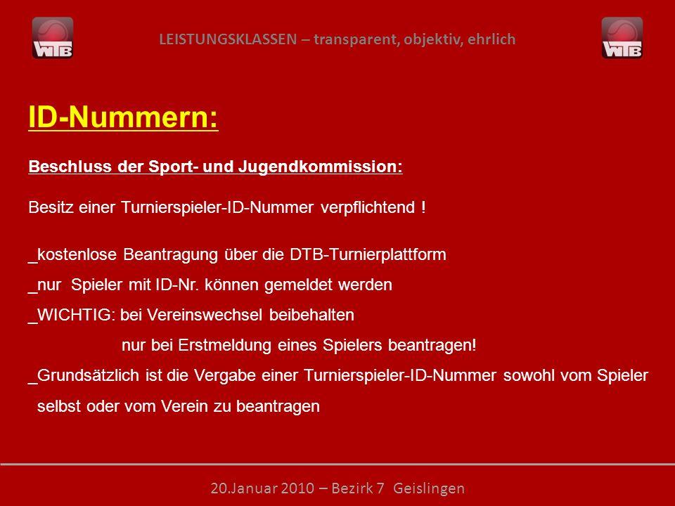 LEISTUNGSKLASSEN – transparent, objektiv, ehrlich 20.Januar 2010 – Bezirk 7 Geislingen ID-Nummern: Beschluss der Sport- und Jugendkommission: Besitz e