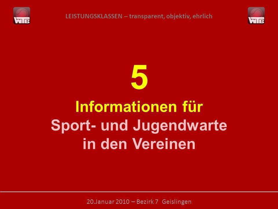 LEISTUNGSKLASSEN – transparent, objektiv, ehrlich 20.Januar 2010 – Bezirk 7 Geislingen 5 Informationen für Sport- und Jugendwarte in den Vereinen