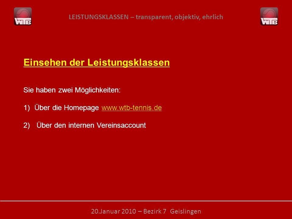 LEISTUNGSKLASSEN – transparent, objektiv, ehrlich 20.Januar 2010 – Bezirk 7 Geislingen Einsehen der Leistungsklassen Sie haben zwei Möglichkeiten: 1)Ü