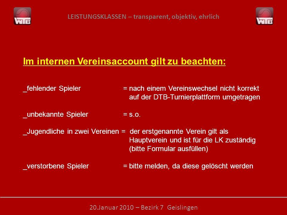 LEISTUNGSKLASSEN – transparent, objektiv, ehrlich 20.Januar 2010 – Bezirk 7 Geislingen Im internen Vereinsaccount gilt zu beachten: _fehlender Spieler