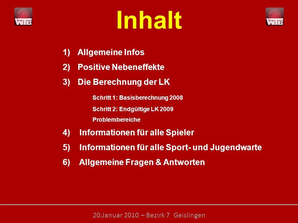LEISTUNGSKLASSEN – transparent, objektiv, ehrlich 20.Januar 2010 – Bezirk 7 Geislingen 4 Informationen für alle Spieler