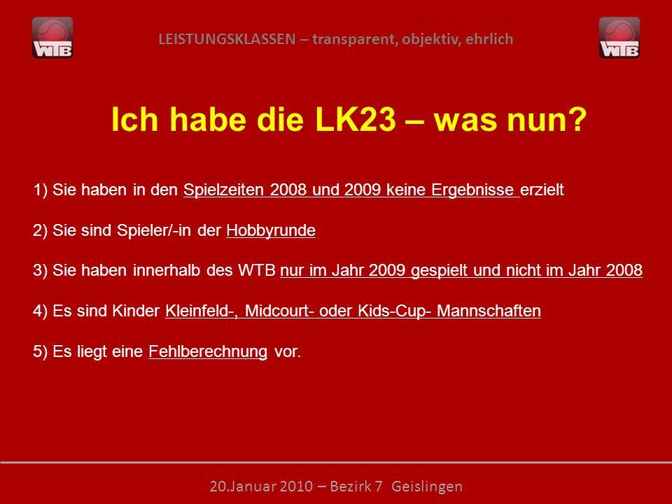 LEISTUNGSKLASSEN – transparent, objektiv, ehrlich 20.Januar 2010 – Bezirk 7 Geislingen Ich habe die LK23 – was nun? 1) Sie haben in den Spielzeiten 20