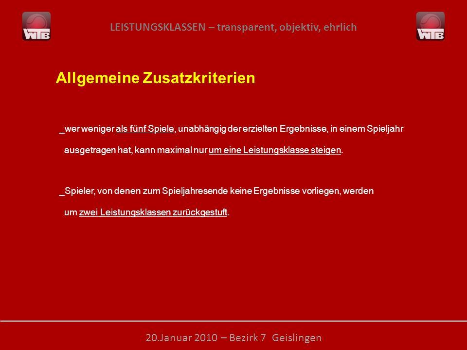 LEISTUNGSKLASSEN – transparent, objektiv, ehrlich 20.Januar 2010 – Bezirk 7 Geislingen Allgemeine Zusatzkriterien _wer weniger als fünf Spiele, unabhä