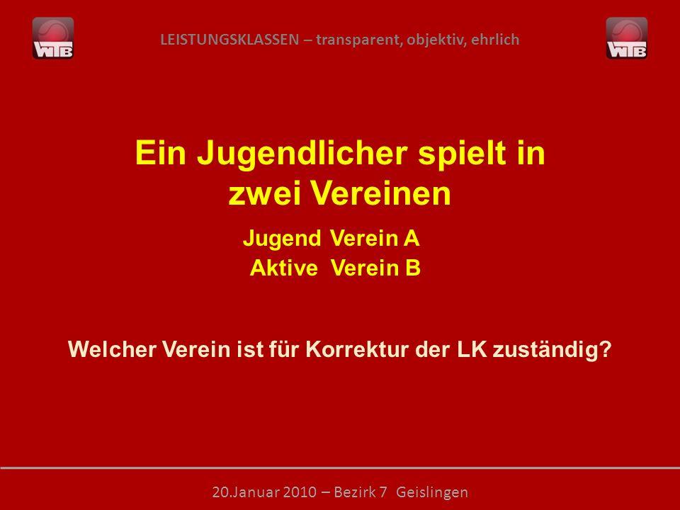 LEISTUNGSKLASSEN – transparent, objektiv, ehrlich 20.Januar 2010 – Bezirk 7 Geislingen Ein Jugendlicher spielt in zwei Vereinen Jugend Verein A Aktive