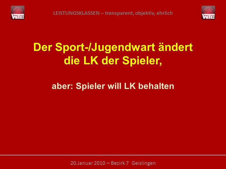 LEISTUNGSKLASSEN – transparent, objektiv, ehrlich 20.Januar 2010 – Bezirk 7 Geislingen Der Sport-/Jugendwart ändert die LK der Spieler, aber: Spieler will LK behalten