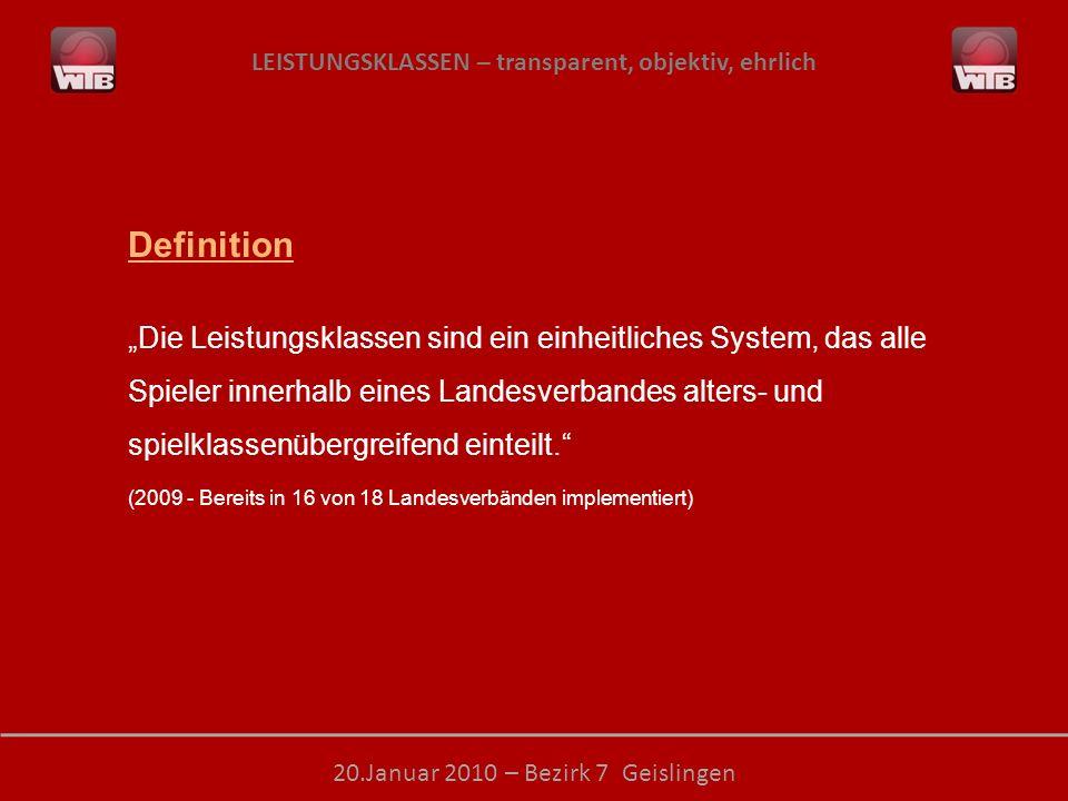 LEISTUNGSKLASSEN – transparent, objektiv, ehrlich 20.Januar 2010 – Bezirk 7 Geislingen Definition Die Leistungsklassen sind ein einheitliches System, das alle Spieler innerhalb eines Landesverbandes alters- und spielklassenübergreifend einteilt.