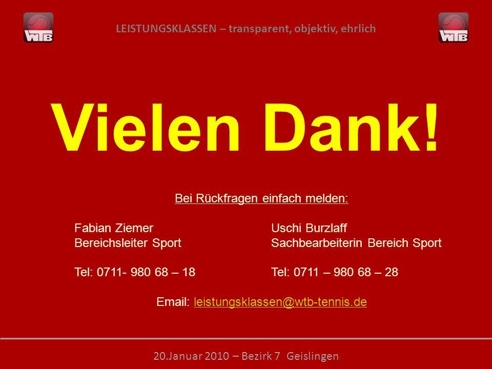 LEISTUNGSKLASSEN – transparent, objektiv, ehrlich 20.Januar 2010 – Bezirk 7 Geislingen Vielen Dank! Bei Rückfragen einfach melden: Fabian ZiemerUschi