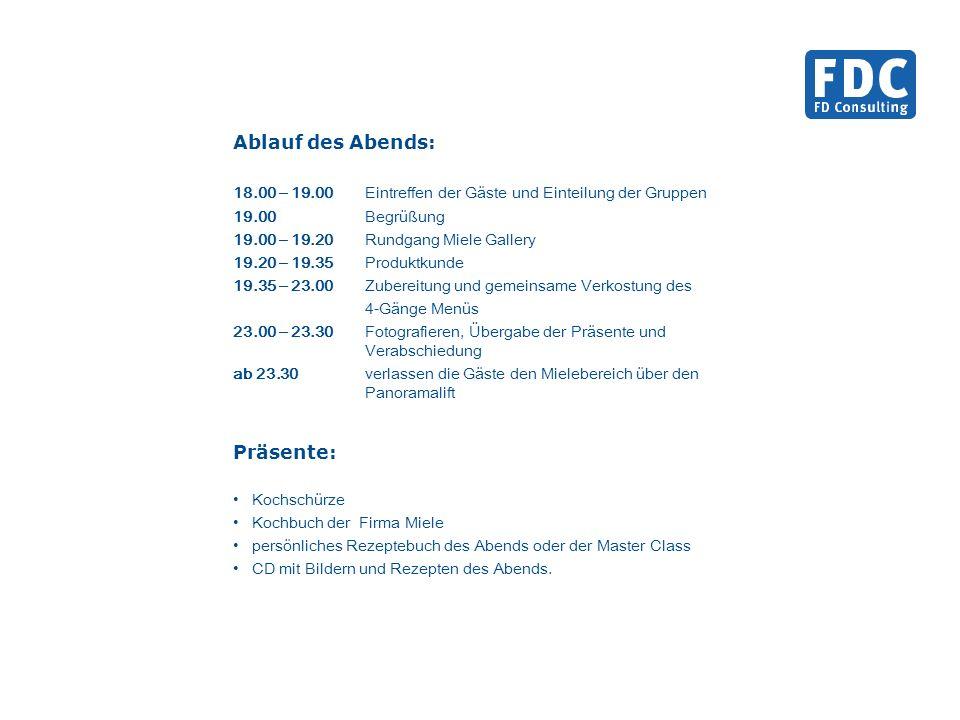 Ablauf des Abends: 18.00 – 19.00Eintreffen der Gäste und Einteilung der Gruppen 19.00Begrüßung 19.00 – 19.20Rundgang Miele Gallery 19.20 – 19.35Produk