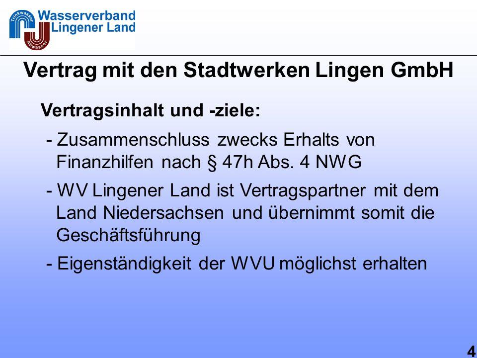4 Vertrag mit den Stadtwerken Lingen GmbH Vertragsinhalt und -ziele: - Zusammenschluss zwecks Erhalts von Finanzhilfen nach § 47h Abs. 4 NWG - WV Ling