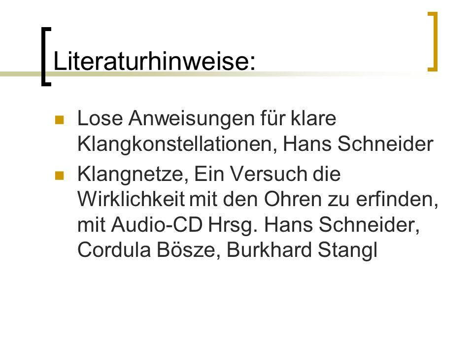 Literaturhinweise: Lose Anweisungen für klare Klangkonstellationen, Hans Schneider Klangnetze, Ein Versuch die Wirklichkeit mit den Ohren zu erfinden,