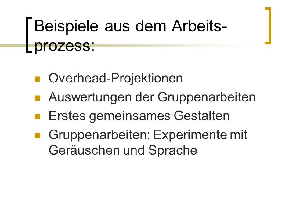 Beispiele aus dem Arbeits- prozess: Overhead-Projektionen Auswertungen der Gruppenarbeiten Erstes gemeinsames Gestalten Gruppenarbeiten: Experimente m