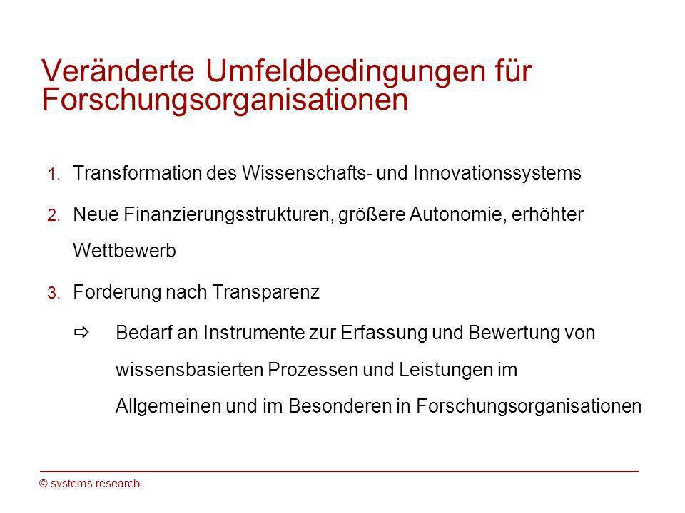© systems research Veränderte Umfeldbedingungen für Forschungsorganisationen 1. Transformation des Wissenschafts- und Innovationssystems 2. Neue Finan