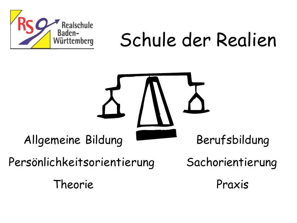 Schule der Realien Allgemeine Bildung Persönlichkeitsorientierung Praxis Berufsbildung Sachorientierung Theorie