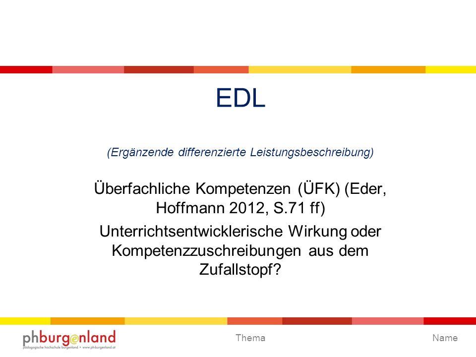 Thema EDL (Ergänzende differenzierte Leistungsbeschreibung) Überfachliche Kompetenzen (ÜFK) (Eder, Hoffmann 2012, S.71 ff) Unterrichtsentwicklerische