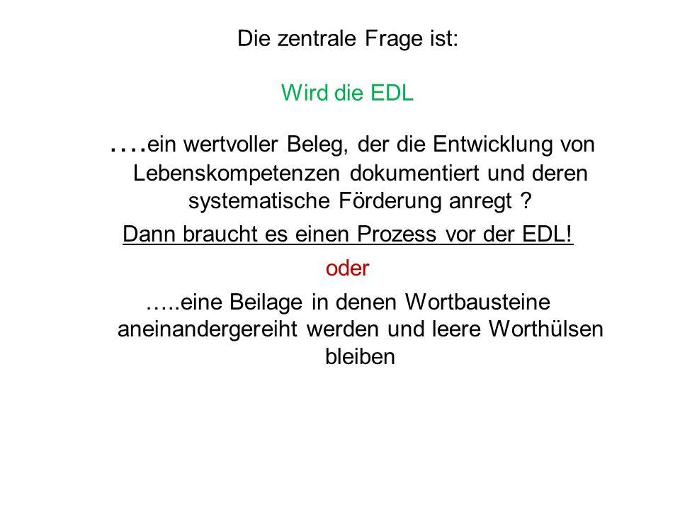 Die zentrale Frage ist: Wird die EDL …. ein wertvoller Beleg, der die Entwicklung von Lebenskompetenzen dokumentiert und deren systematische Förderung